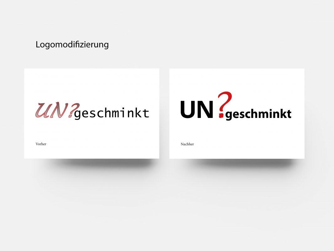 Beispiel: Logomodifizierung, Logodesign für das Ensemble ungeschminkt in Bonn, Theatergruppe